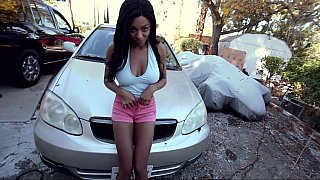Black sweety with big natural boobs giving head