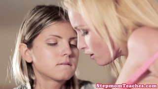Euro stepmom and teen sharing cock during ffm
