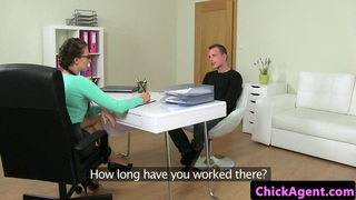 Classy petite agent fucking new male client