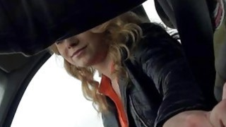 Cute blonde teen Nishe fucked and facialized in the car