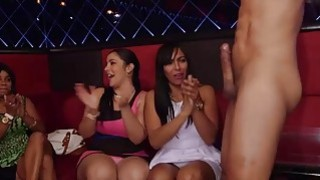 Party girls getting wet panties as they suck big cock