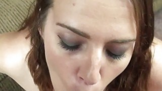 Curvy coed Alisha Adams is swallowing a stiff cock