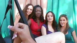 Girls get ball goo on boobies after sex in public
