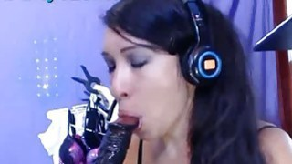 Hot Latina Sucks Her Squirting Dildo Huge Facial