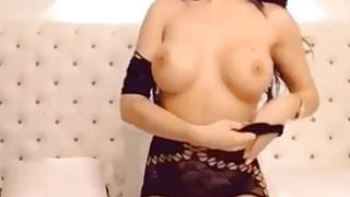 Amateur brunette in sexy lingerie on webcam