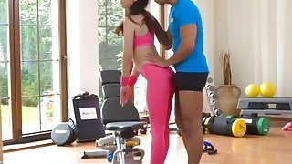 Fitness instructor cock gets hard so hot babe decides to help him with that