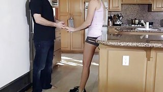 Hollie Mack gives her step bro a deep throat blowjob