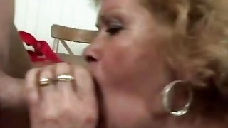 Horny man licks lusty granny's hairy pussy before he fucks her very hard