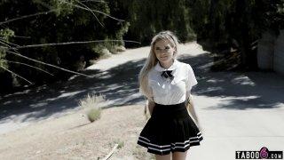 Naughty schoolgirl teen having anal sex with a stranger