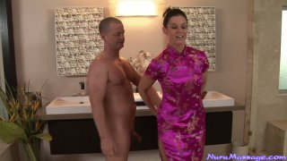 American brunette India Summer looks hot in Japanese dress