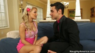 Handsome macho in tuxedo makes blonde milf Lou Lou horny