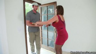 Alone black haired milf Ava Devine gets a fresh cock