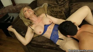 Kinky blond chick Nina Hartley is pro in sucking a cock