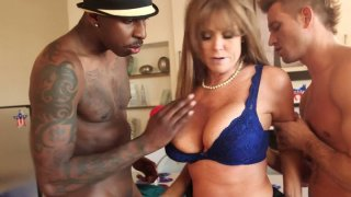 Horny busty mommy Darla Crane is fucked hard in her throat and pussy