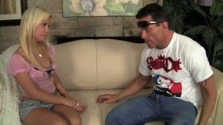 Playful teen bitch Bibi Noel seduces Dick Delaware and gives him a blowjob