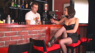 Majestic brunette Ennessi is horny for the sexy bartender Nick