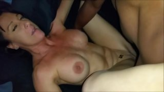Gorgeous White MILF enjoying two BBC