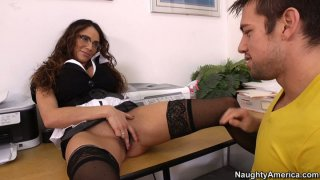 Brunette milf teacher Ariella Ferrera wants to get eaten and fucked