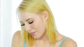 Pretty blonde masseuse masturbates her clients hard cock