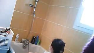 Anouk voyeured in our bathroom