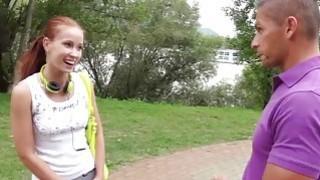 Redhead jerks two cocks in public