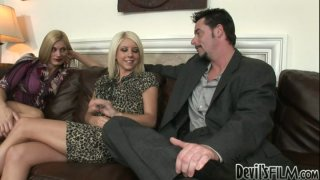 Tessa Taylor is so eager for a threesome with one guy and one milf blonde