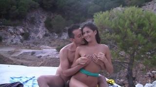 Agnessa in nude beach porn vid with sexy cutie nessa
