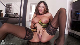 Extremely sexy and busty Ariella Ferrara rubs her honey cunt