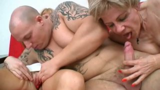 Two rapacious grannies Ritta and Rosalie make out with young energetic dude