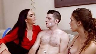 Surprise birthday turns into threesome action on sofa