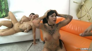 Dirty hell fucking  sluts in crazy foursome orgy