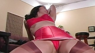 Sexy Brunette in Red Teasing