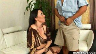 Hot brunette mommy Ava Allure gives her husband a blowjob