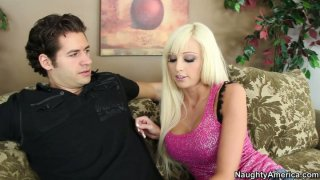 Amazingly beautiful babe Rikki Six seduces a guy and gives him a head