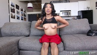 Skinny black chick teases with her perky little tits solo
