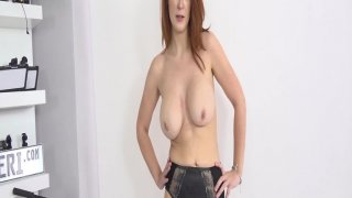 Delicious carrot top nibbles on cock