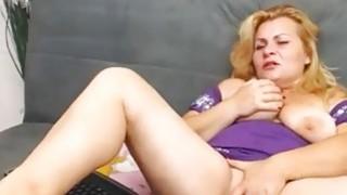 busty blonde mature masturbates with yellow sextoy