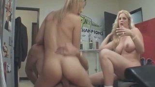 Delicious blonde sluts Kat and Brooke Hunter riding one man