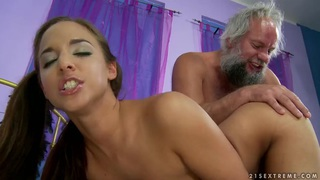Amirah Adara fingered and dildoed by old man