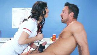 Hot latina nurse sucking off the surprised patient
