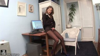 Dirty blonde office slut Inna shows her ass in pantyhose