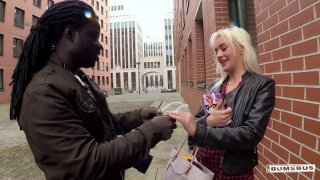 Horny blonde is down for intensive interracial fucking in public