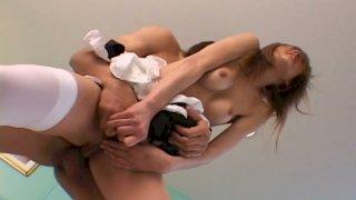 Spoiled Japanese maid Sally Yoshino rides stiff dick with hairy pussy