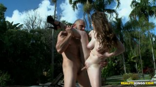 Doggy fuck right outdoors is what voracious Natalie Moore dreams of