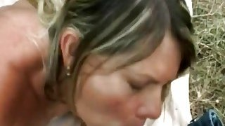 Busty blonde MILF Samantha getting banged outdoors by a loaded piston