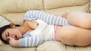Japanese milf found herself a quiet room to masturbate