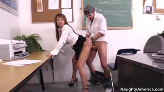Busty teacher Jenla Moore gets nailed by Kris Slater