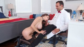 Lexi Luna on her knees gives blowjob to Dr. Alex Legend