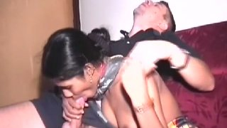 Ugly submissive Indian whore sucks a strong cock for sperm
