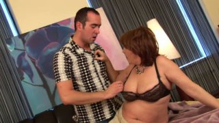 Fillthy BBW MILF Orgianna gives head to her stud Ryan